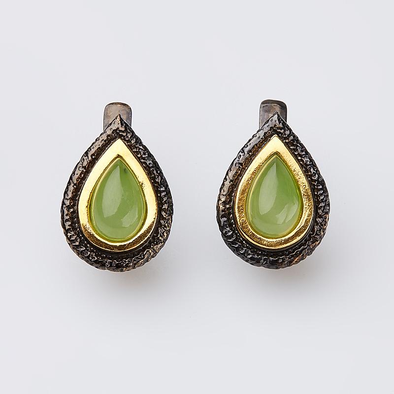 Серьги нефрит зеленый (серебро 925 пр. позолота, родир. черн.)