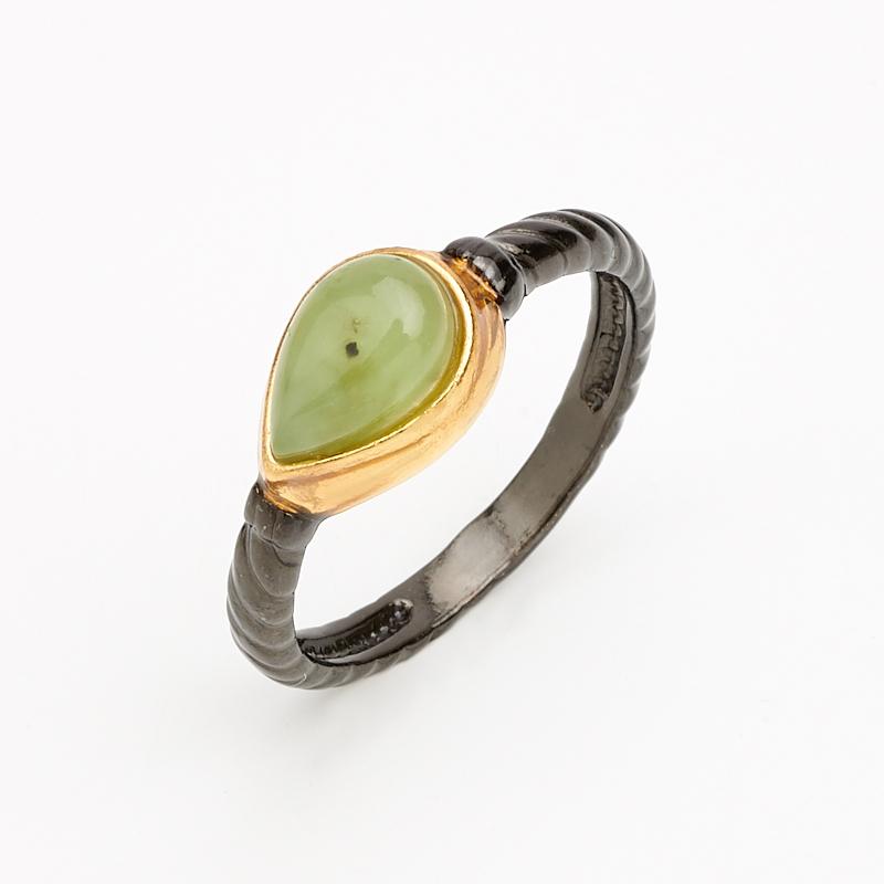 Кольцо нефрит зеленый (серебро 925 пр. позолота, родир. черн.) размер 16,5