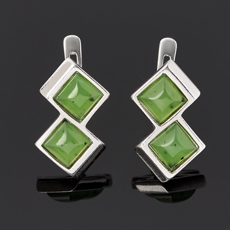 Серьги нефрит зеленый (серебро 925 пр. родир. бел.)