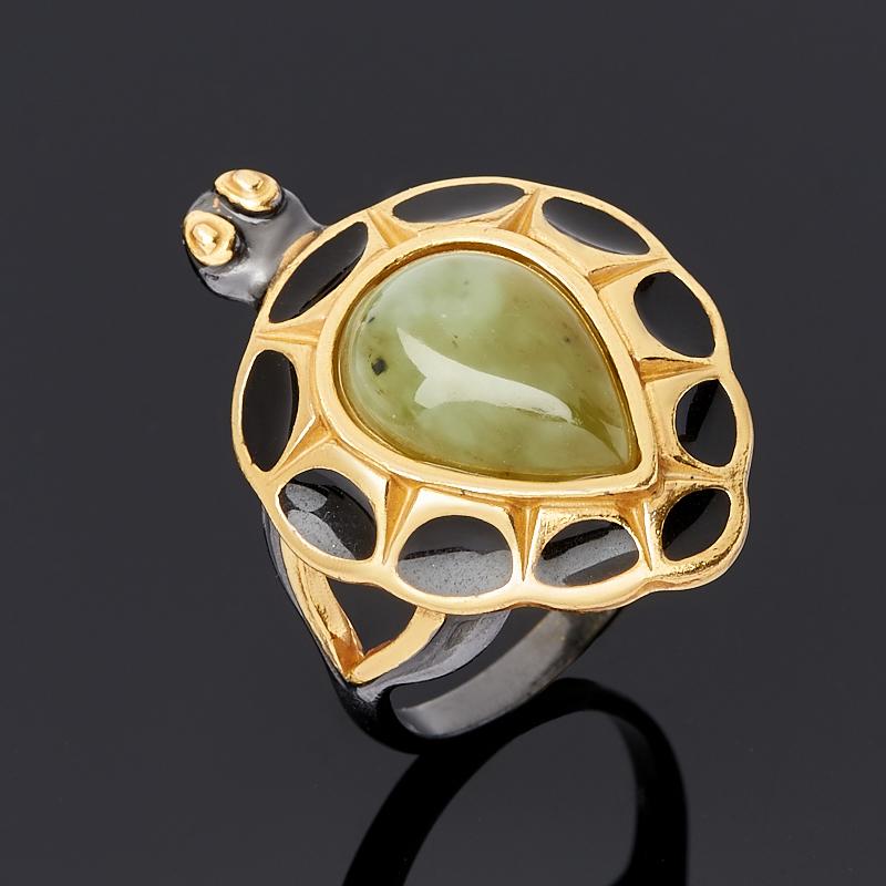 Кольцо нефрит зеленый Россия (серебро 925 пр. родир. черн., эмаль) размер 17,5