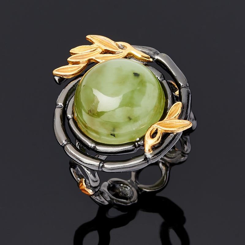 Кольцо нефрит зеленый Россия (серебро 925 пр. родир. черн.) размер 15
