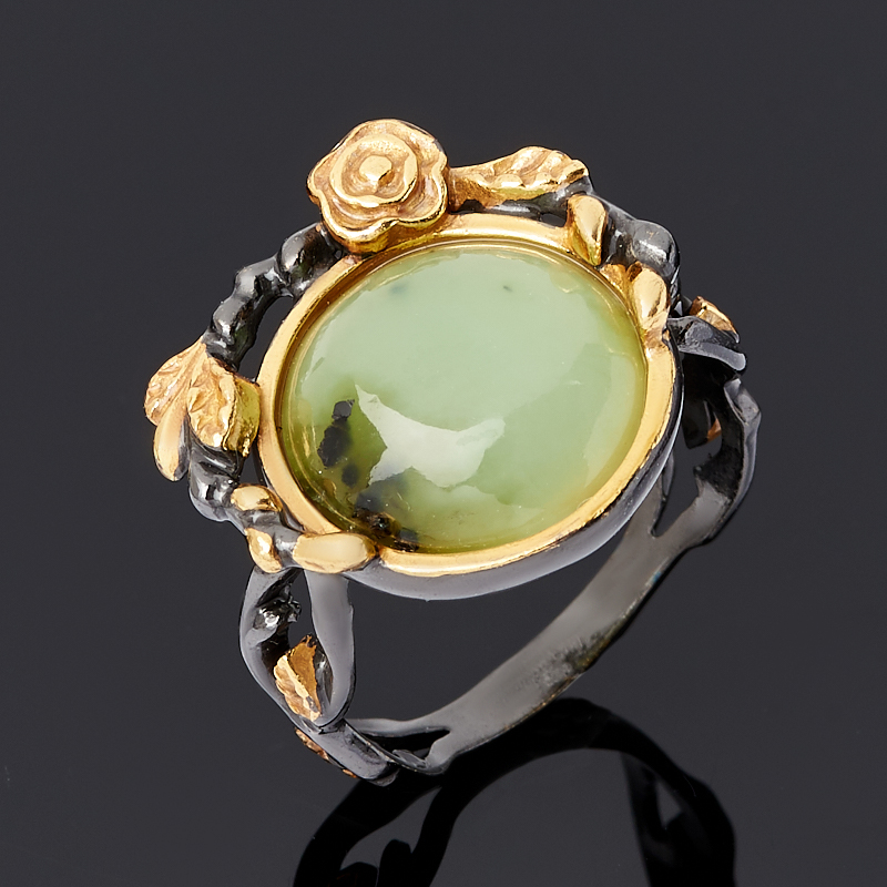 Кольцо нефрит зеленый (серебро 925 пр. родир. черн.) размер 18,5