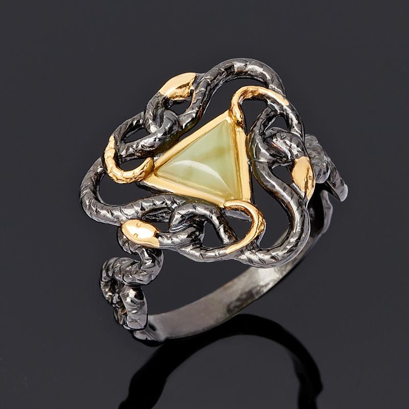Кольцо нефрит зеленый (серебро 925 пр. родир. черн.) размер 18