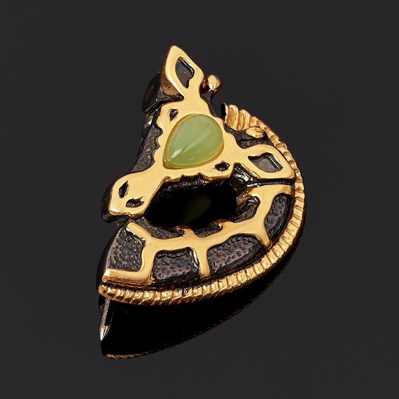 Брошь нефрит зеленый (серебро 925 пр. родир. черн.)