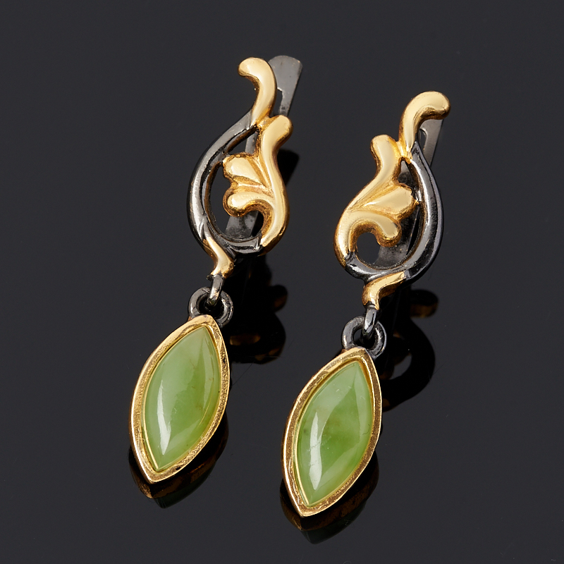 Серьги нефрит зеленый (серебро 925 пр. родир. черн.)