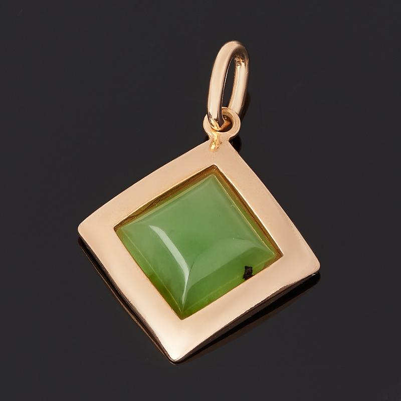 Кулон нефрит зеленый (серебро 925 пр. позолота) ромб