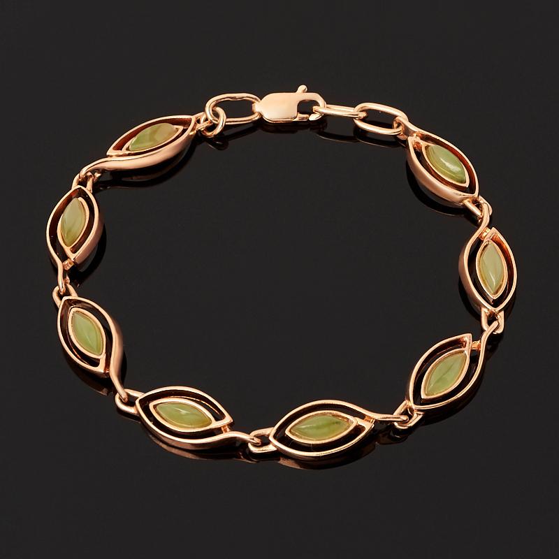 Браслет нефрит зеленый (серебро 925 пр. позолота) 17 см браслет классика 8 нефрит револю