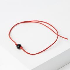 Браслет турмалин черный (шерл) Бразилия красная нить Мужской талисман силы 6 мм регулируемый (текстиль)