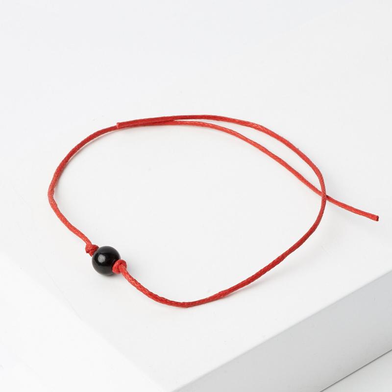 Браслет турмалин черный (шерл) красная нить Мужской талисман силы 6 мм регулируемый (текстиль)