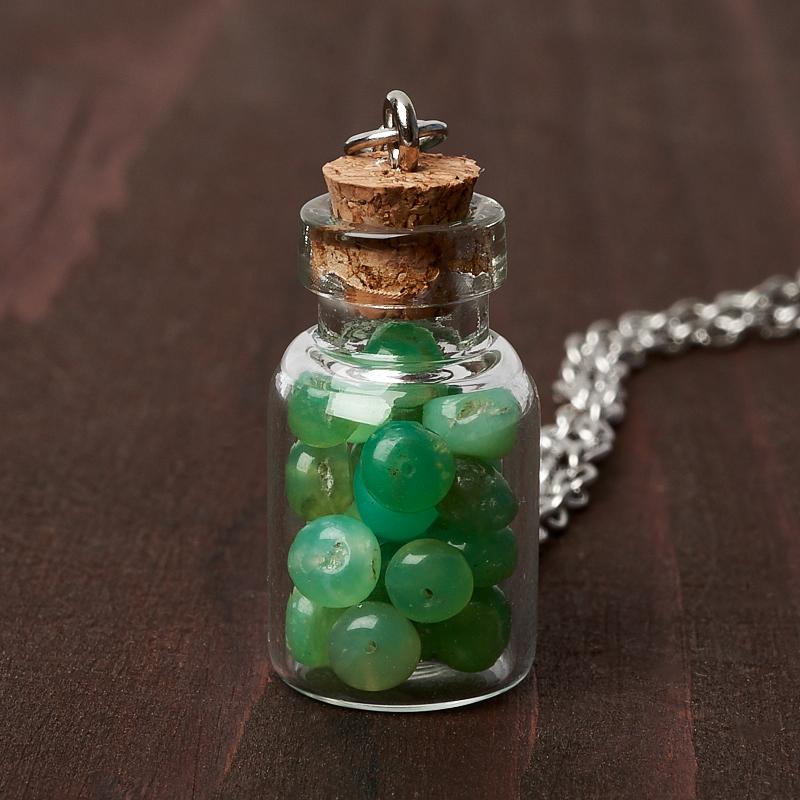 Кулон хризопраз (биж. сплав) бутылочка 3 см кулон гранат альмандин бутылочка биж сплав 3 см