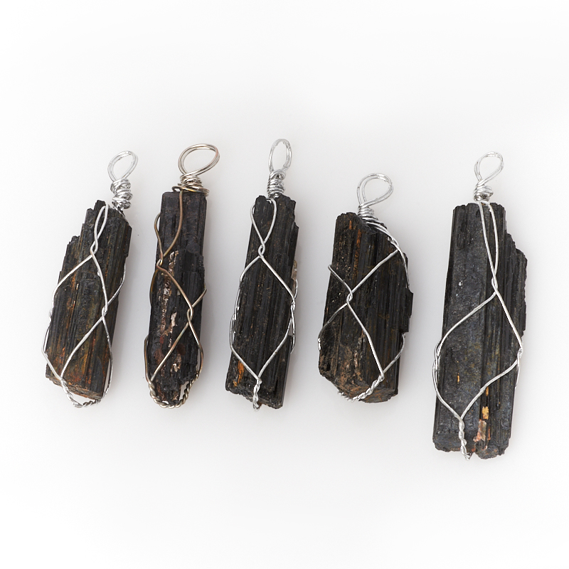 Кулон турмалин черный (шерл) (биж. сплав) 5,5-7 см