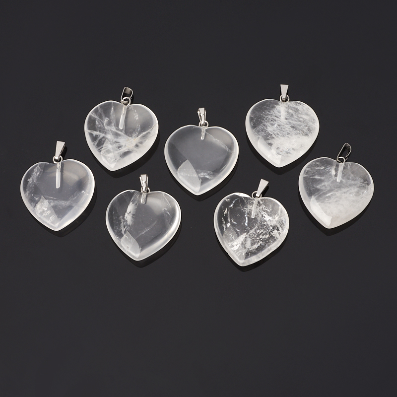 Фото - Кулон горный хрусталь (биж. сплав) сердечко 3 см бусы нефрит белый огранка 48 см биж сплав