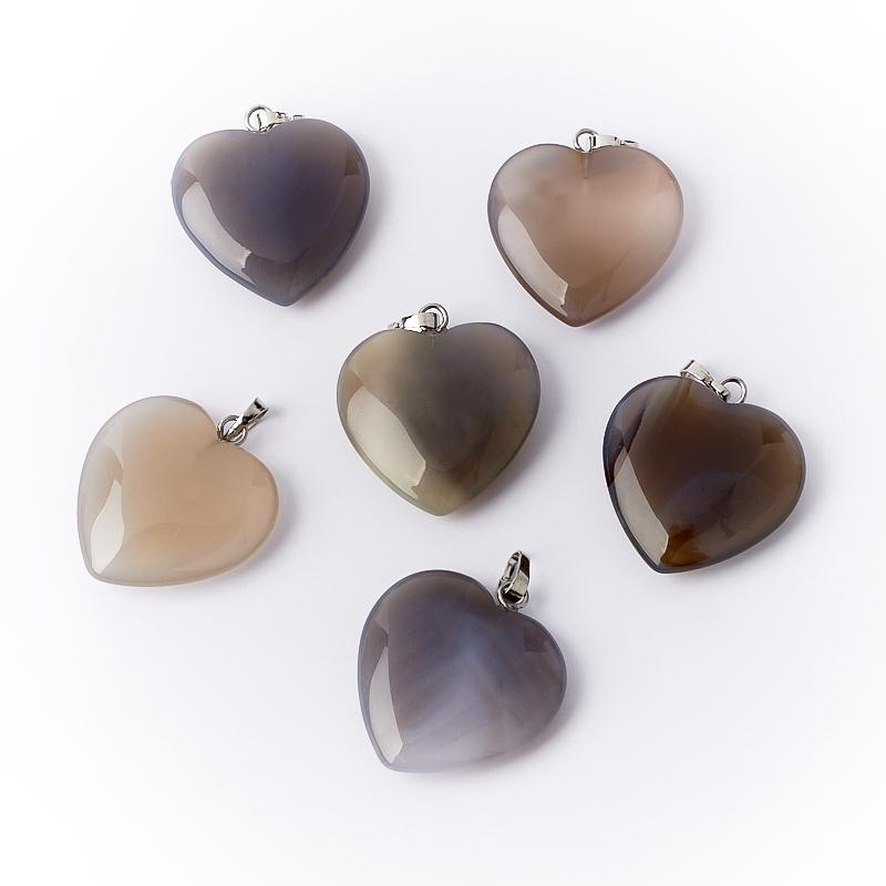Кулон агат серый (биж. сплав) сердечко 3 см кулон сердечко агат черный 5 6 см