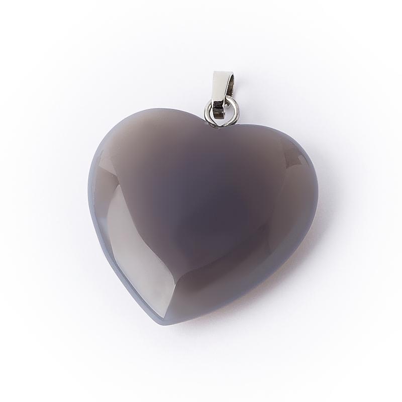 Кулон агат серый Ботсвана (биж. сплав) сердечко 3 см
