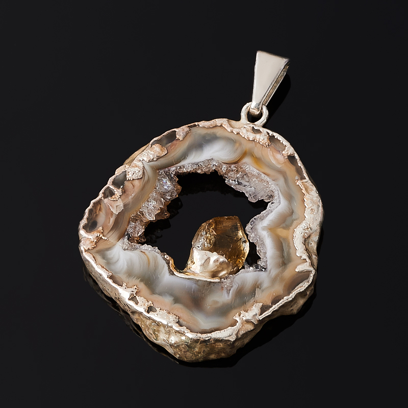 Кулон агат серый срез с кристаллом цитрина (биж. сплав) 4-5 см