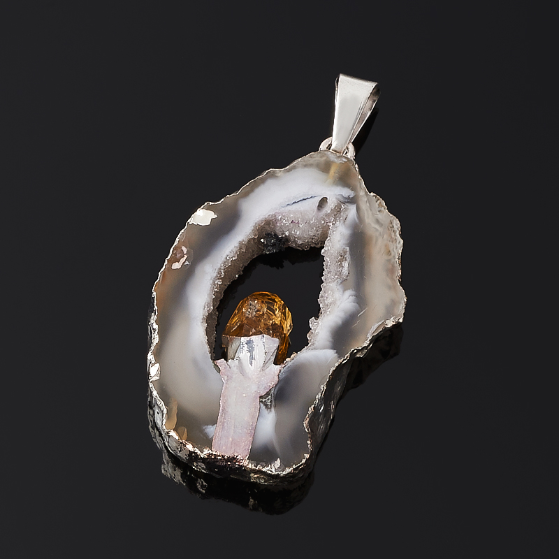 Кулон агат серый срез с кристаллом цитрина Бразилия (биж. сплав) 4-5 см