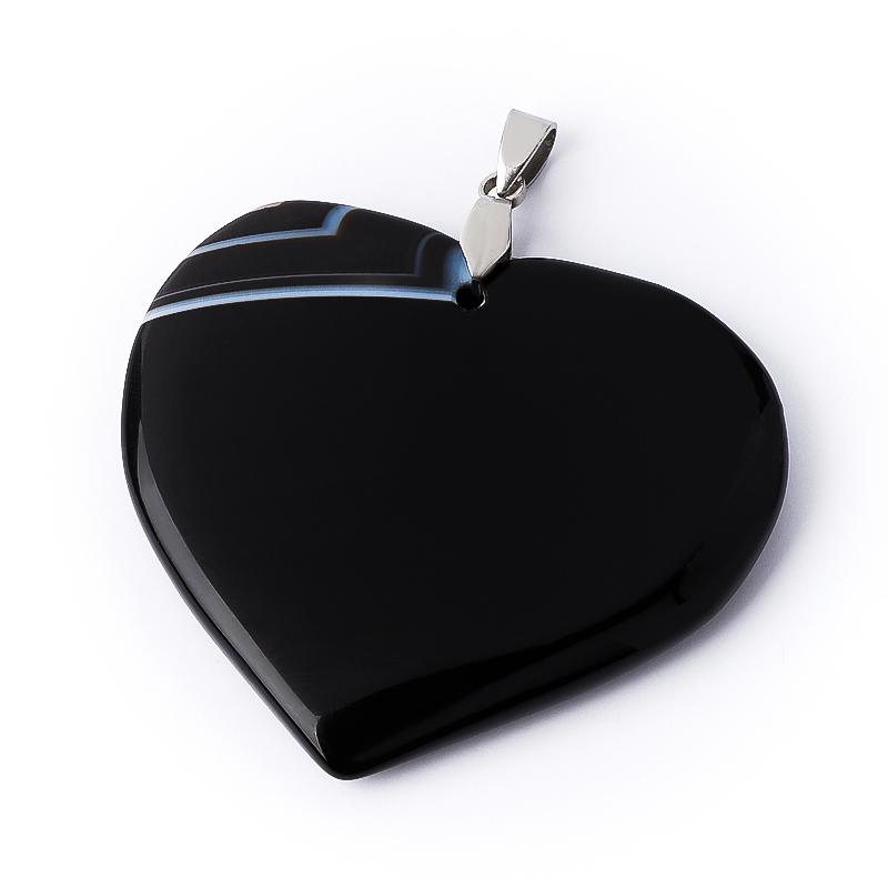 Кулон агат черный (биж. сплав) сердечко 5,5 см кулон сердечко агат черный 5 6 см