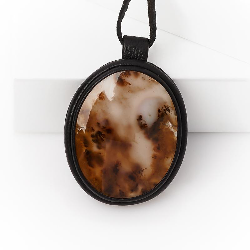 Кулон агат пейзажный Казахстан (кожа натуральная) овал