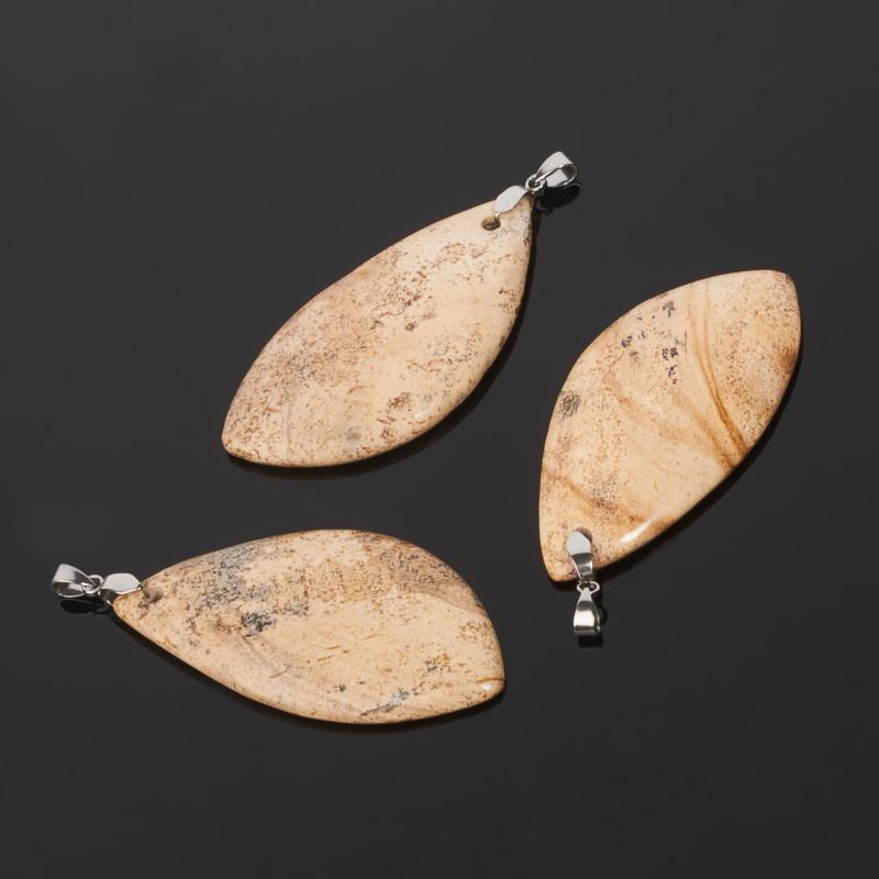 Кулон яшма рисунчатая Намибия (биж. сплав) 7,5 см