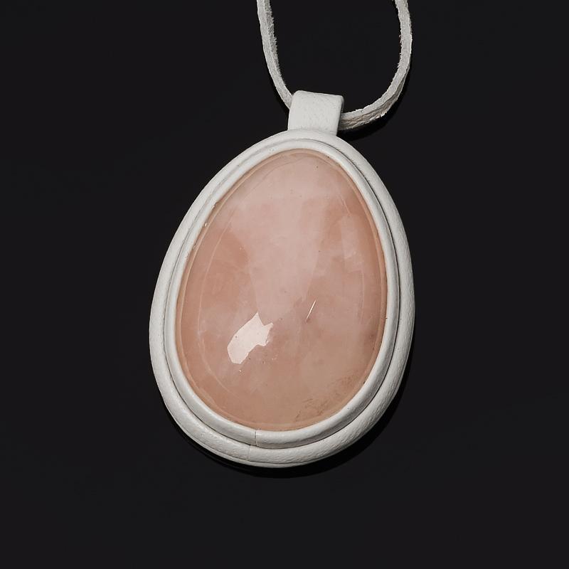 Кулон розовый кварц (кожа натуральная)