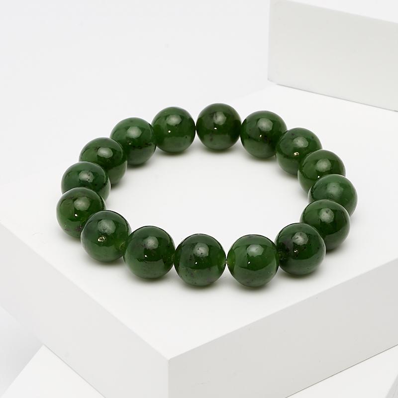 Браслет нефрит зеленый 12 мм 16 см
