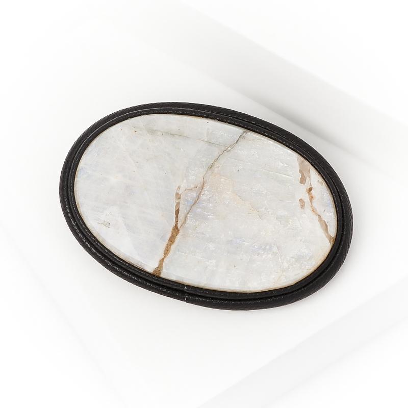 Брошь лунный камень (кожа натуральная)