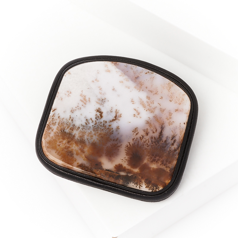 Брошь агат пейзажный (кожа натуральная)