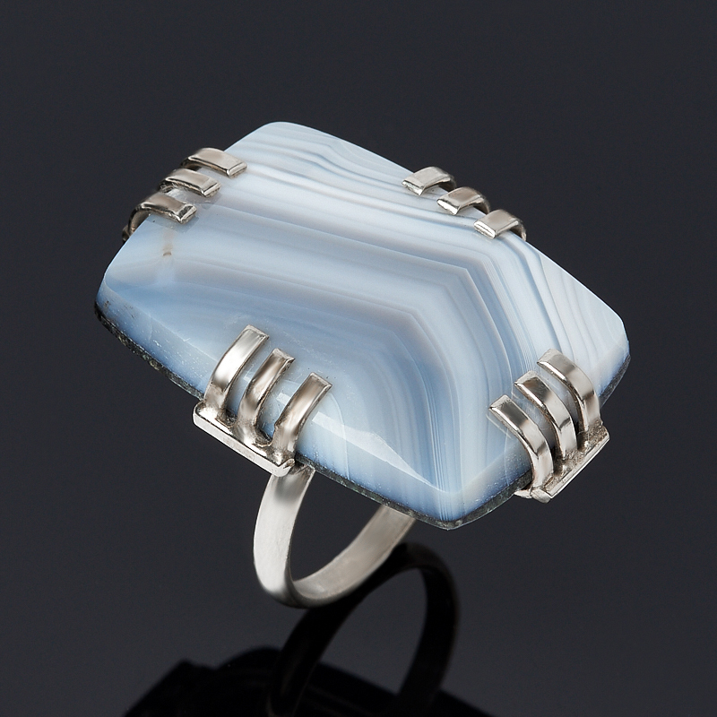 Кольцо агат серый (дублет) (нейзильбер) размер 17