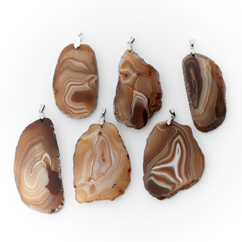 Кулон агат серый (биж. сплав) огранка 8-9,5 см