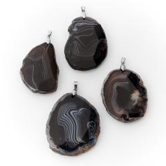Кулон агат черный Ботсвана (биж. сплав) огранка 6-7 см
