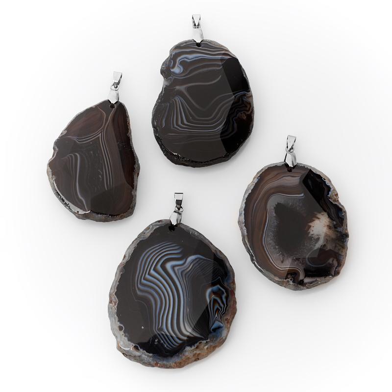 Кулон агат черный (биж. сплав) огранка 6-7 см кулон сердечко агат черный 5 6 см