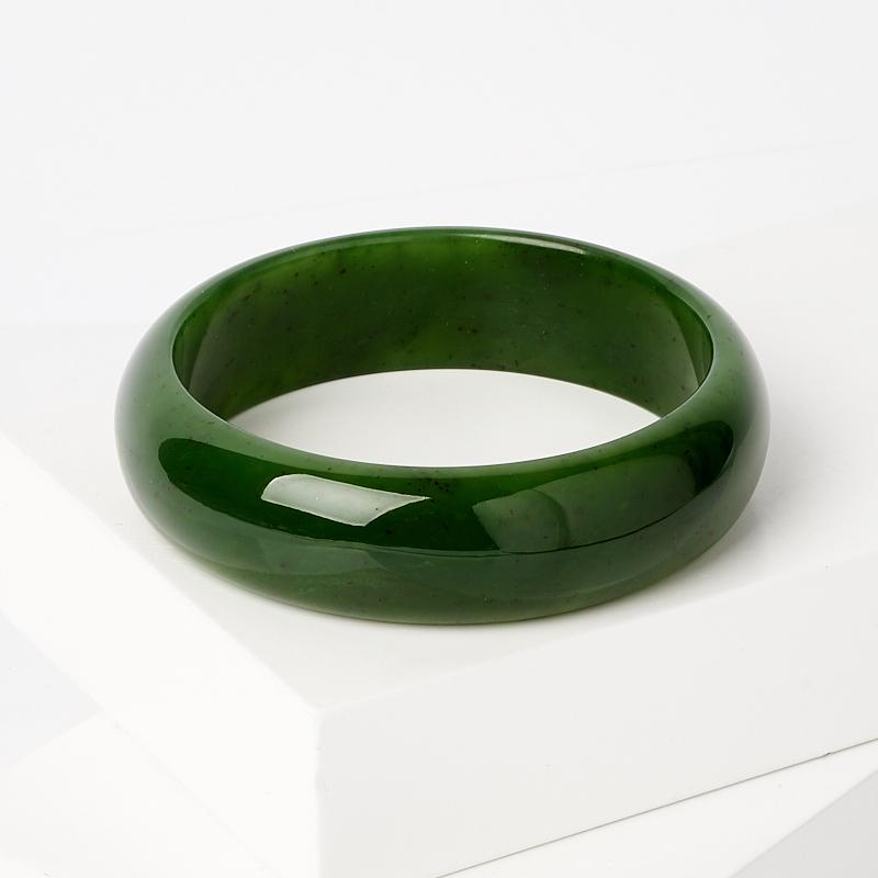 Браслет нефрит зеленый цельный 19 см