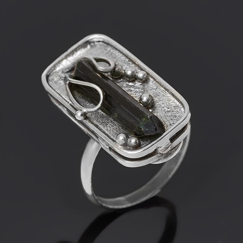 Кольцо турмалин зеленый (верделит) (нейзильбер) размер 18