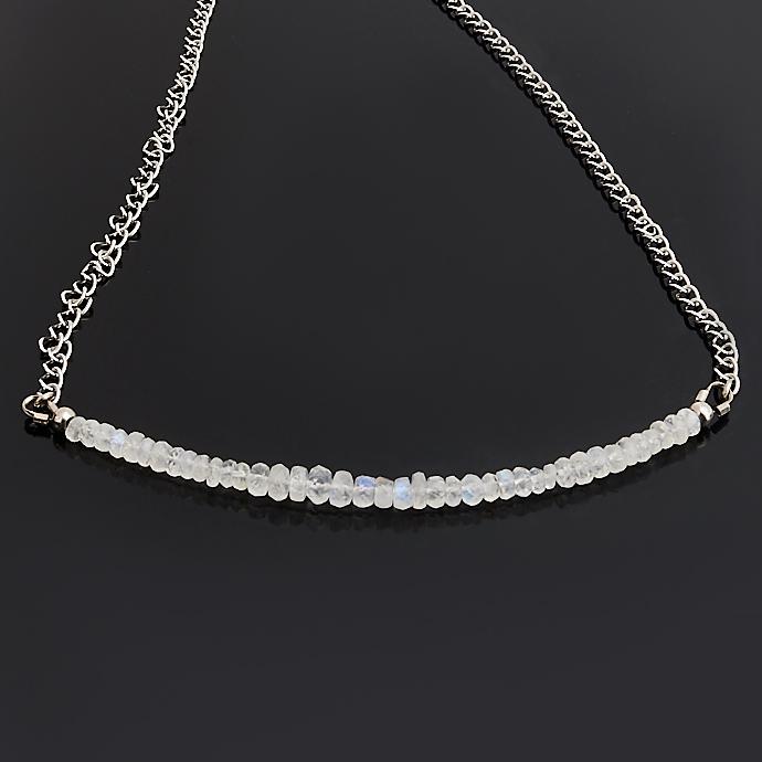 лучшая цена Бусы лунный камень (биж. сплав, сталь хир.) (колье) огранка 46-52 см