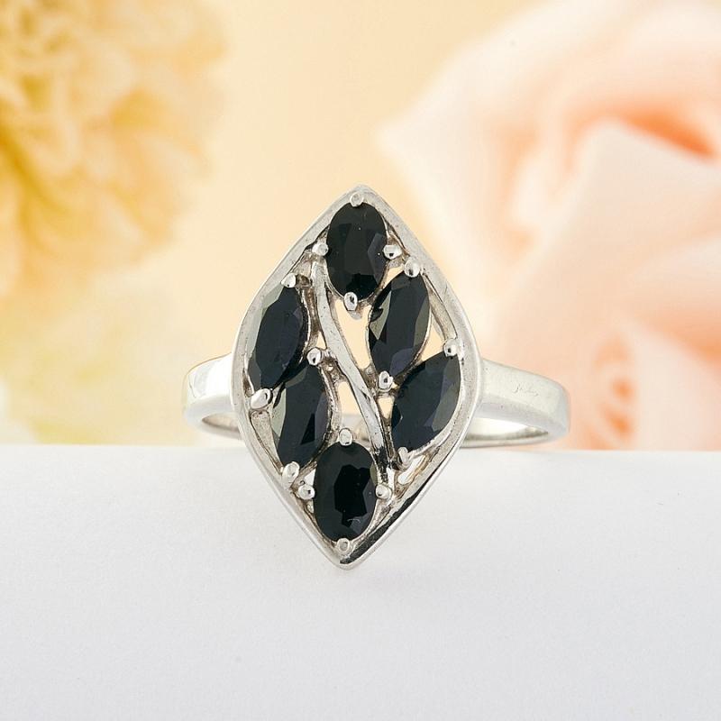 Кольцо сапфир  огранка (серебро) размер 18,5