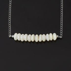 Бусы перламутр белый Индонезия (биж. сплав) (колье) 10 мм 57 см