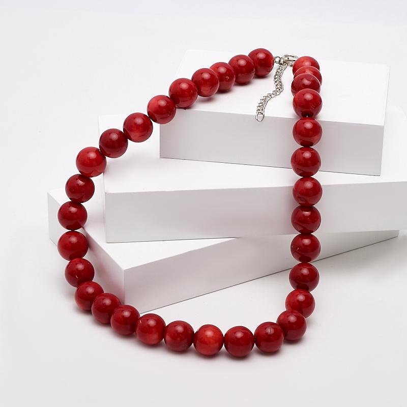 Бусы коралл красный (биж. сплав) 13 мм 50-57 см