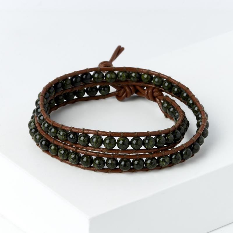 купить Браслет змеевик (кожа натуральная) Чан Лу чокер 4 мм 16-17 см по цене 1490 рублей