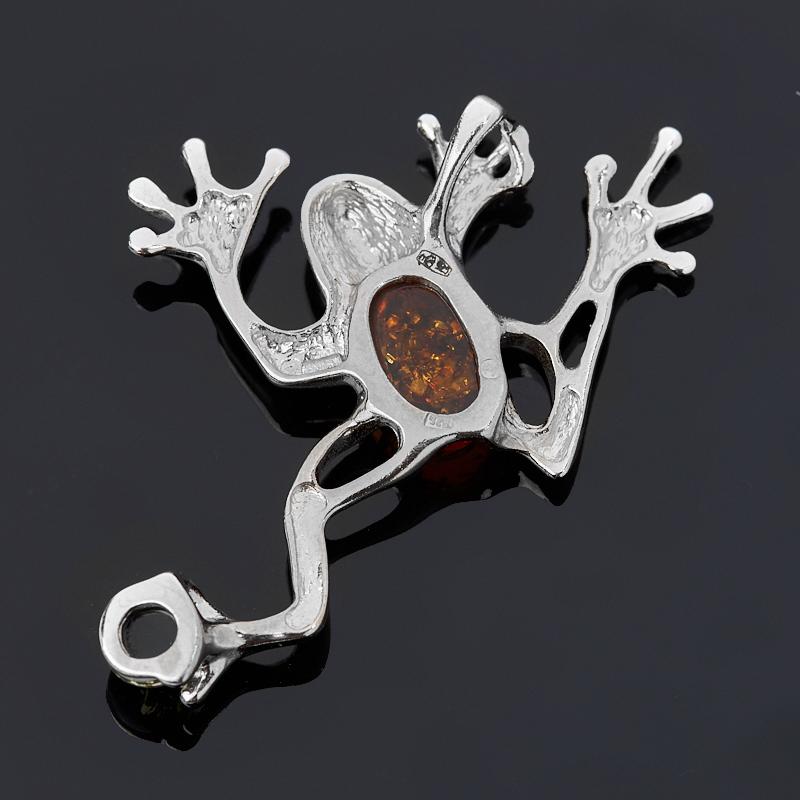 Кулон янтарь пресс (дублет) Польша (серебро 925 пр.) лягушка