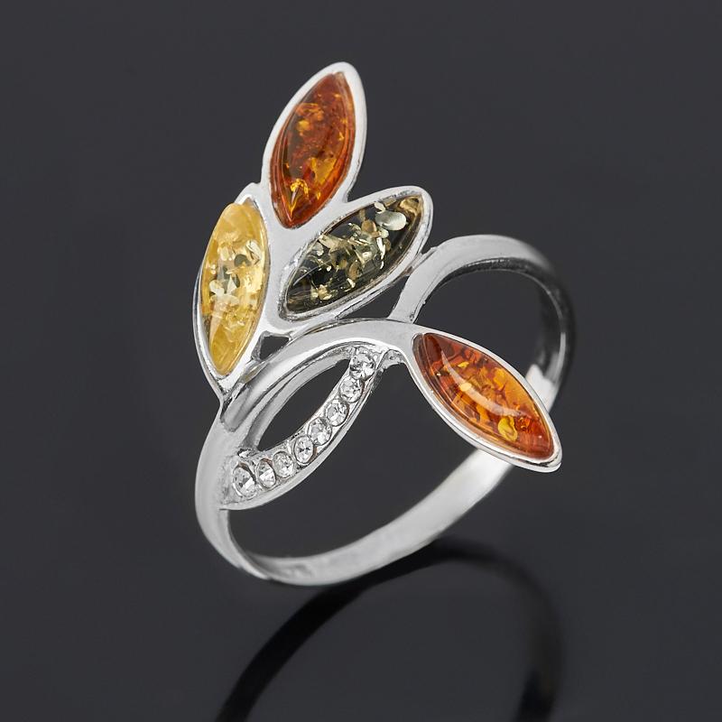 Кольцо янтарь пресс (дублет) (серебро 925 пр. родир. бел.) размер 18