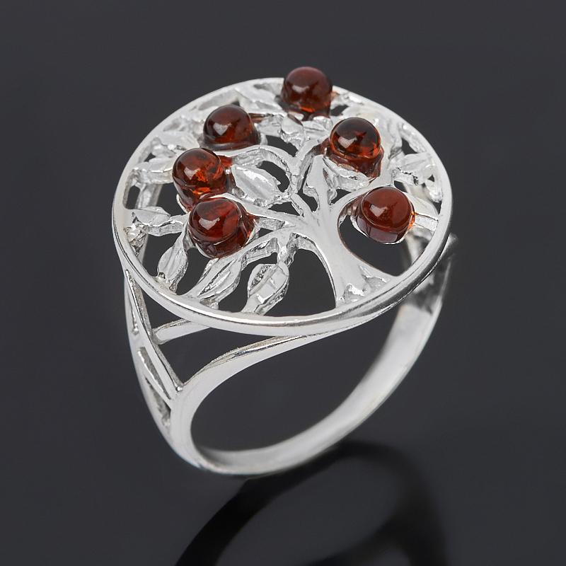 Кольцо янтарь пресс (серебро 925 пр. родир. бел.) размер 17,0