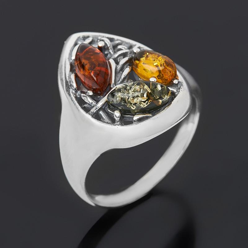 Кольцо янтарь пресс (дублет) (серебро 925 пр. оксидир.) размер 17,5