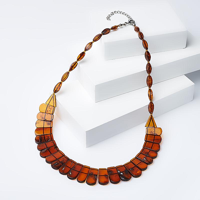 Бусы янтарь (биж. сплав) (колье) 45-50 см