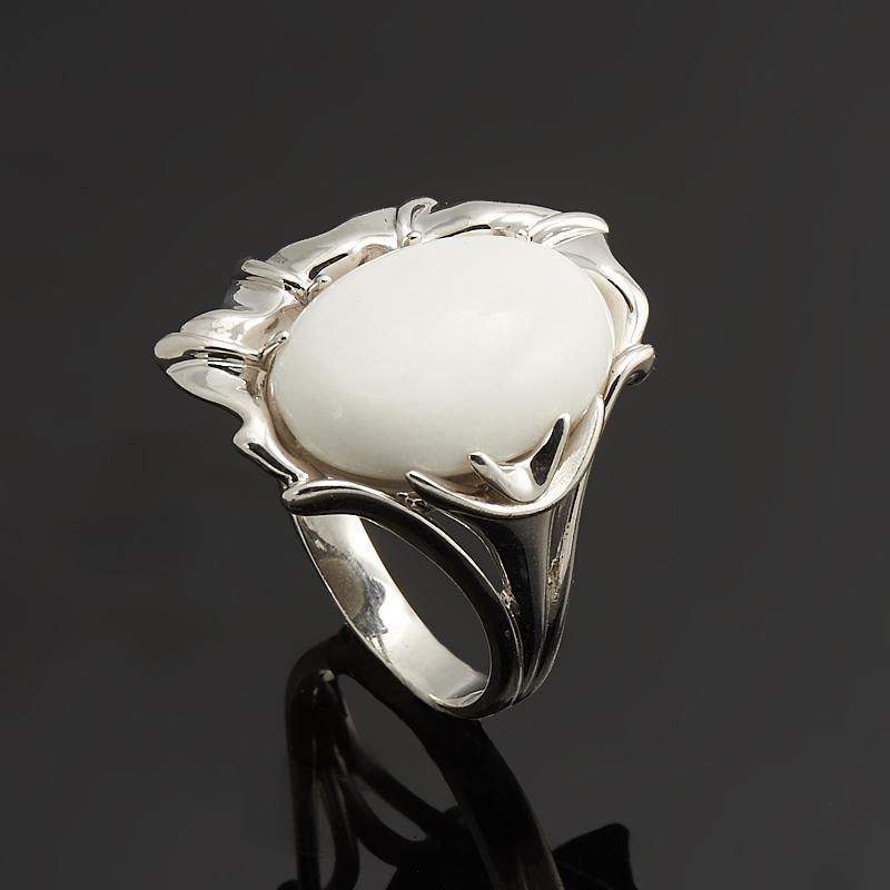 Кольцо кахолонг (серебро 925 пр. родир. бел.) размер 17