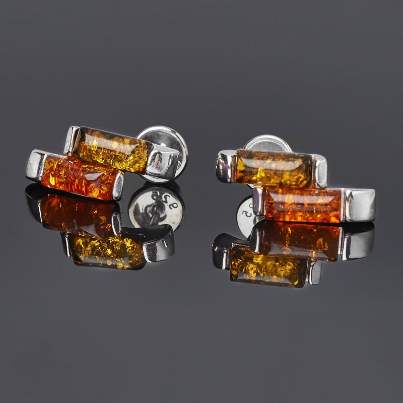 Серьги янтарь пресс (дублет) (серебро 925 пр. родир. бел.) пуссеты