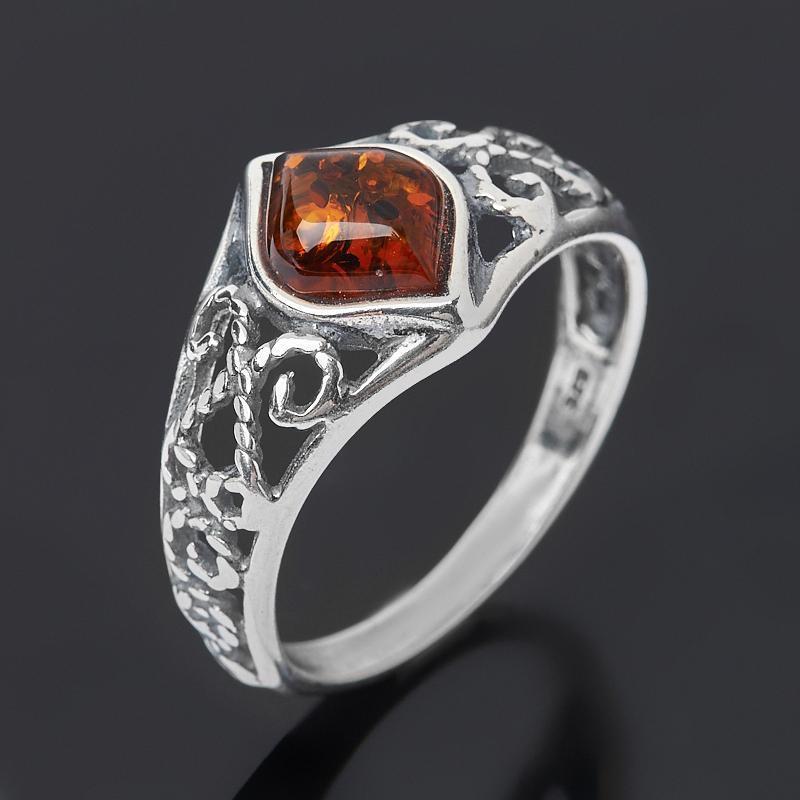 Кольцо янтарь пресс (серебро 925 пр. оксидир.) размер 18