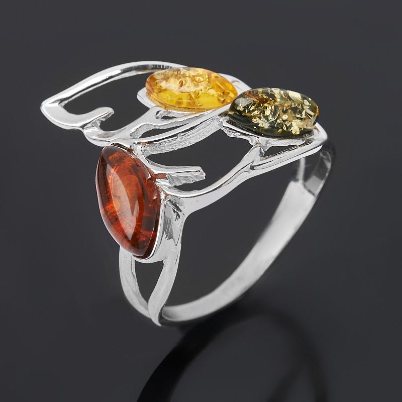 Кольцо янтарь пресс (дублет) (серебро 925 пр. родир. бел.) размер 18,5