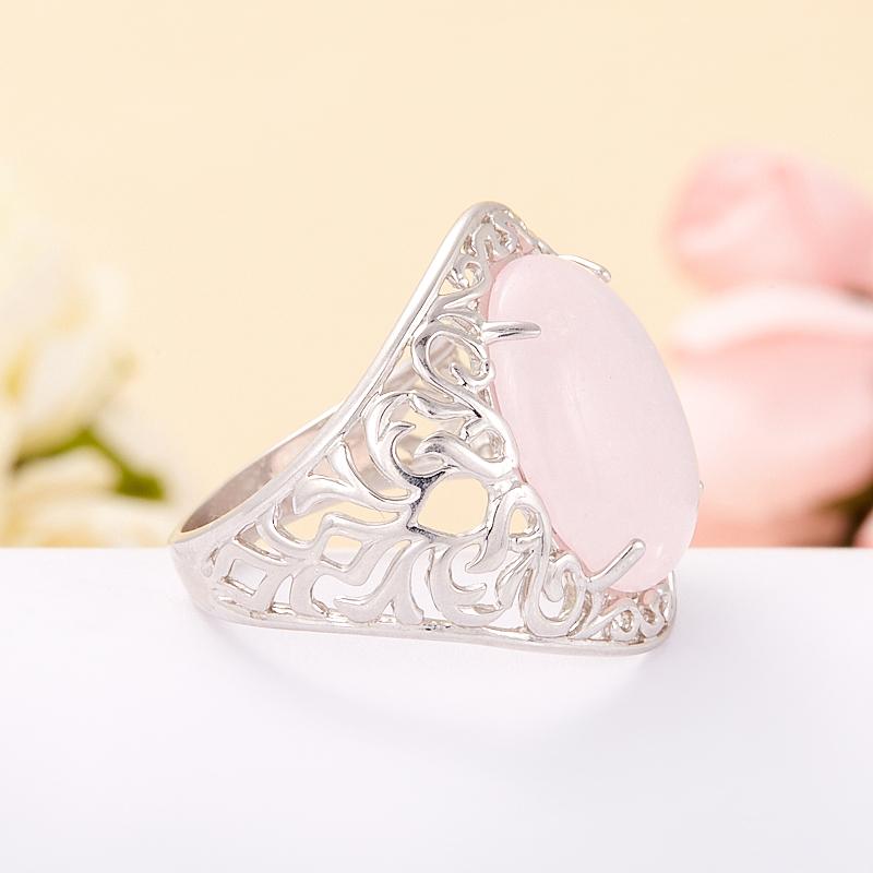 Кольцо розовый кварц Намибия (серебро 925 пр. родир. бел.) размер 18,5