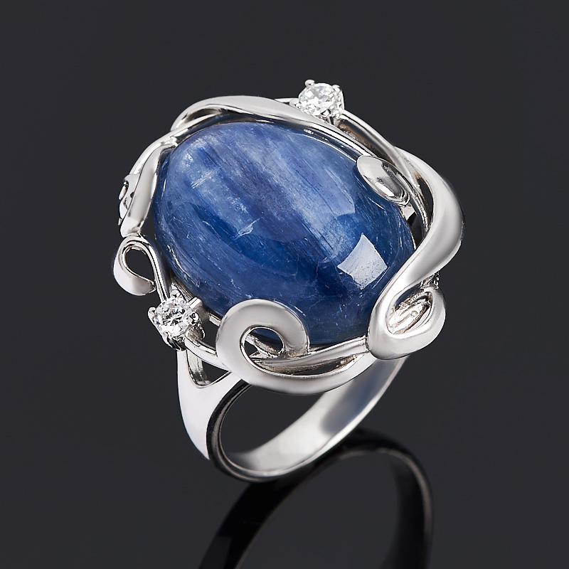 Кольцо кианит синий (серебро 925 пр. родир. бел.) размер 18