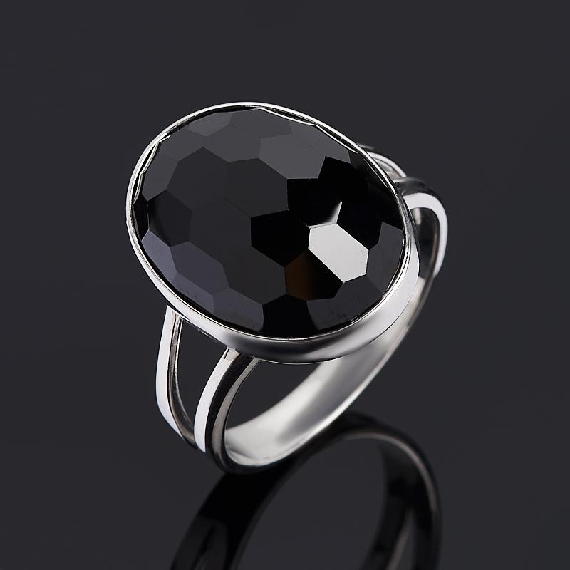 Кольцо агат черный (серебро 925 пр. родир. бел.) огранка размер 17